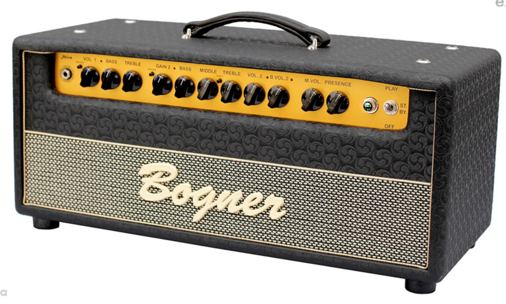 Bogner Shiva   Featuring two highly evolved channels, capable of clean tones that shimmer like icicles in the deep of winter moonlight and tube saturation that is so rich and powerful it should be illegal in the free world.