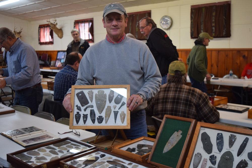 Greg Shipley with his display of the collection of Dean Driskill.