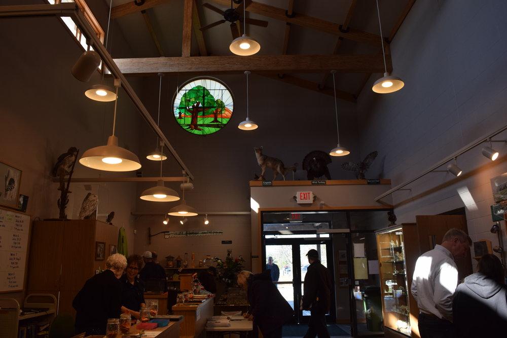 Interior of the Lowe-Volk park conservation center.