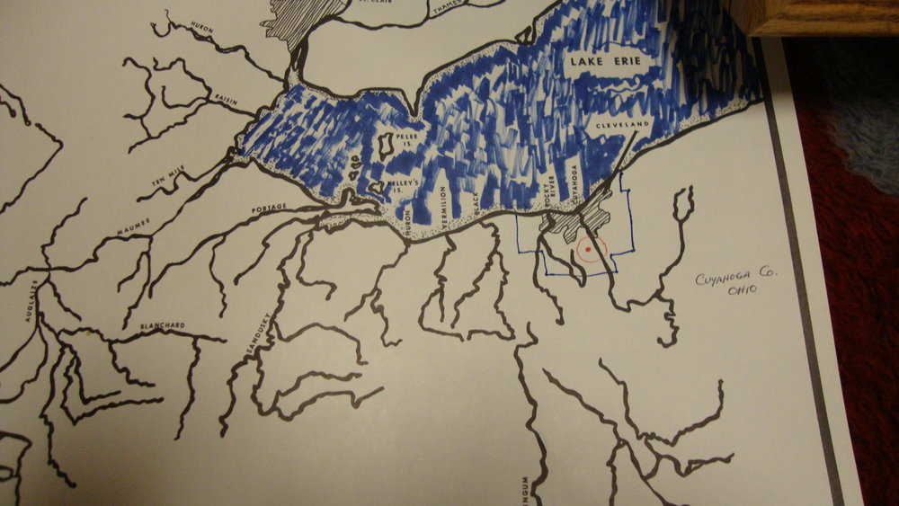 Map drawn by Steve Puttera, all of his finds were within five miles of his residence