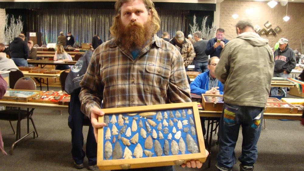 Jeff Adams with his finds from Portage County, Ohio