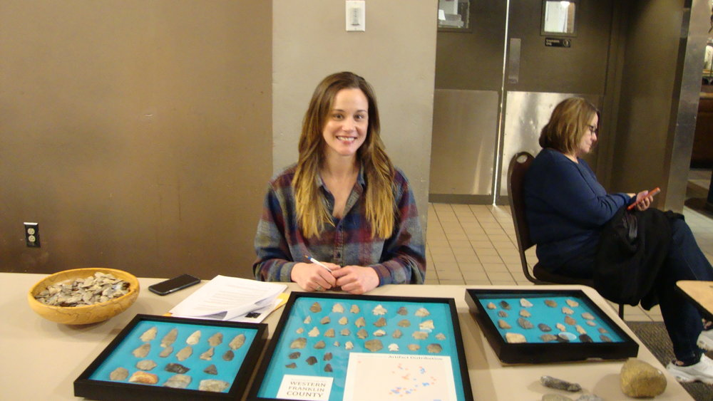 Kelli Hughes with her display of finds from Franklin County.