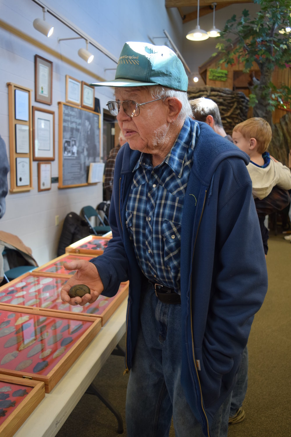 Don Higgins at the 2018 Lowe-Volk Park Arrowhead Day, with his first ever found artifact.
