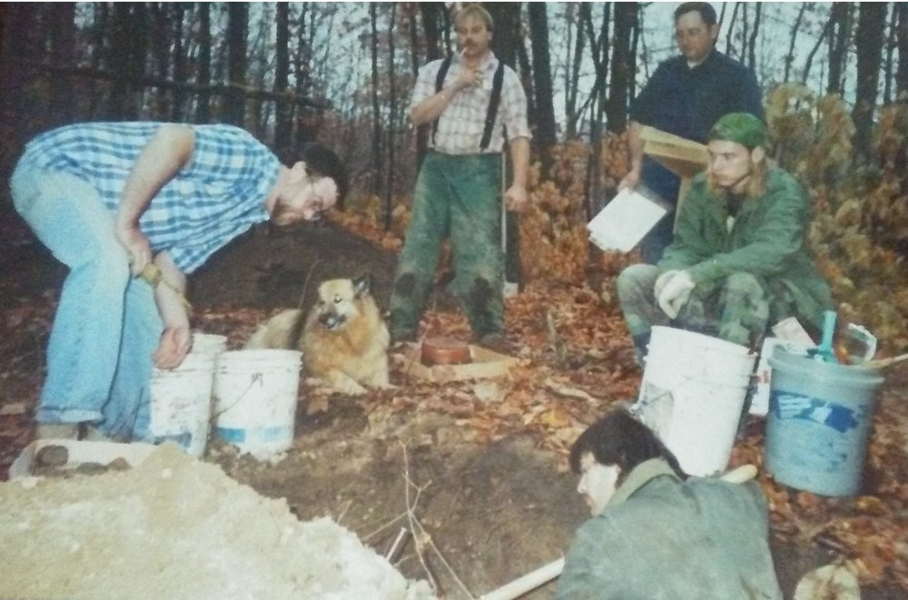L-R Dr. Dave Stothers, Bill Young, George Demuth, and Andrew Schneider. Digging is Dr. Tim Abel. circa 1991