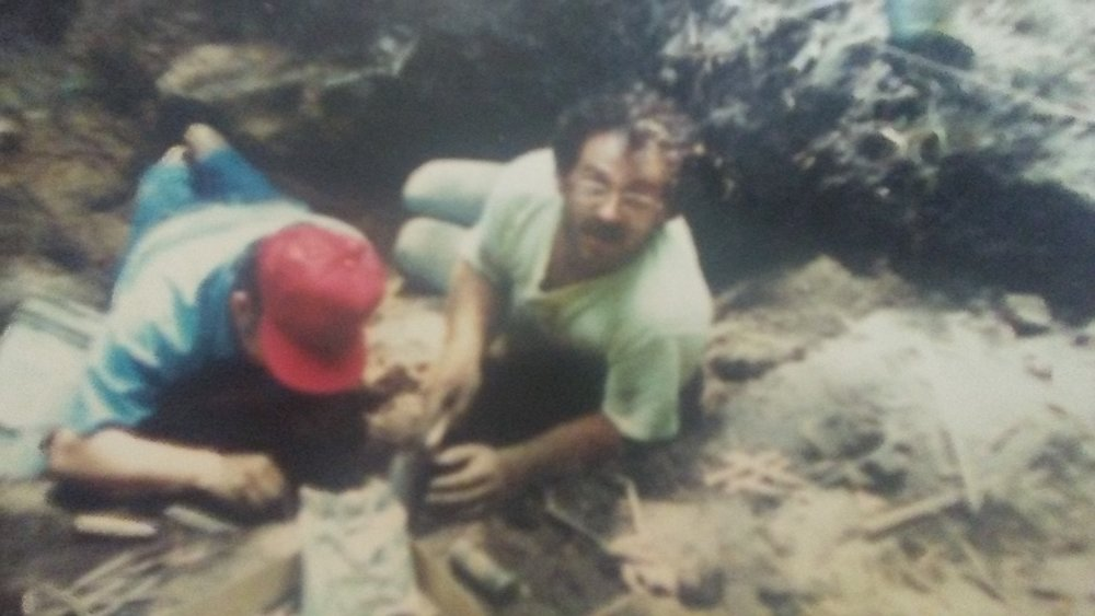 Tim Edwards digging at Seaman's Fort circa 1989