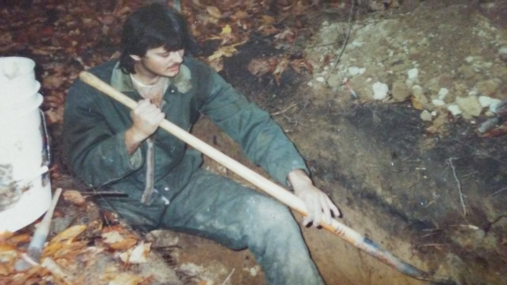 Dr. Tim Abel as a grad student at Toledo University, doing initial excavation of the Seaman's Fort Mound.