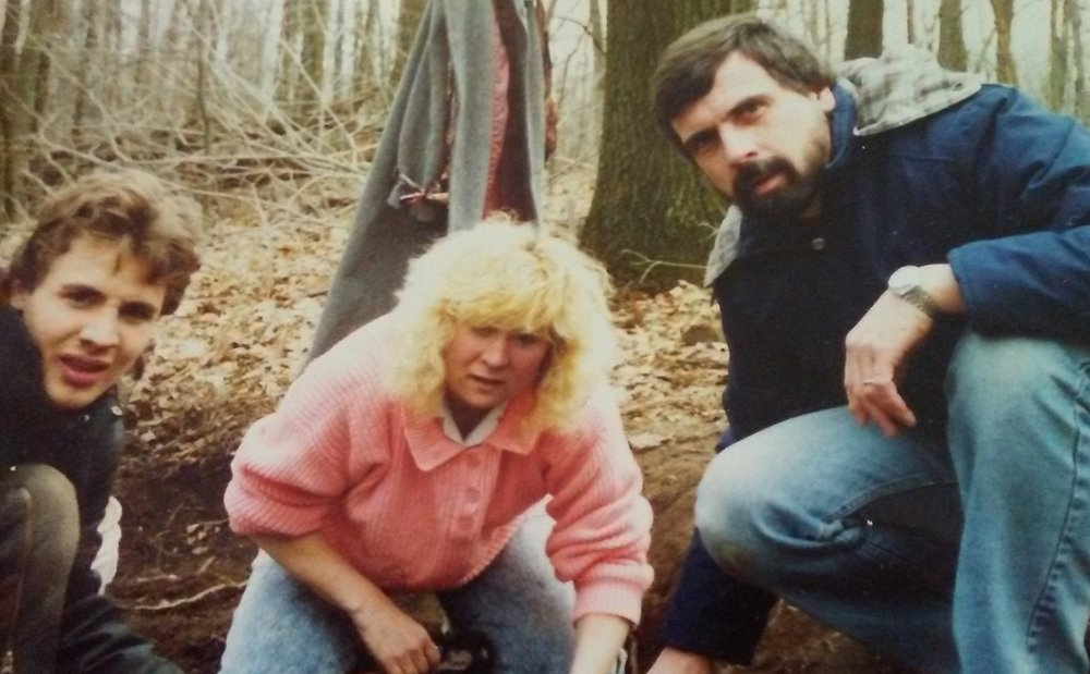 Dave Betchman and Jay Zimmerman with guest at Seaman's Fort circa 1992