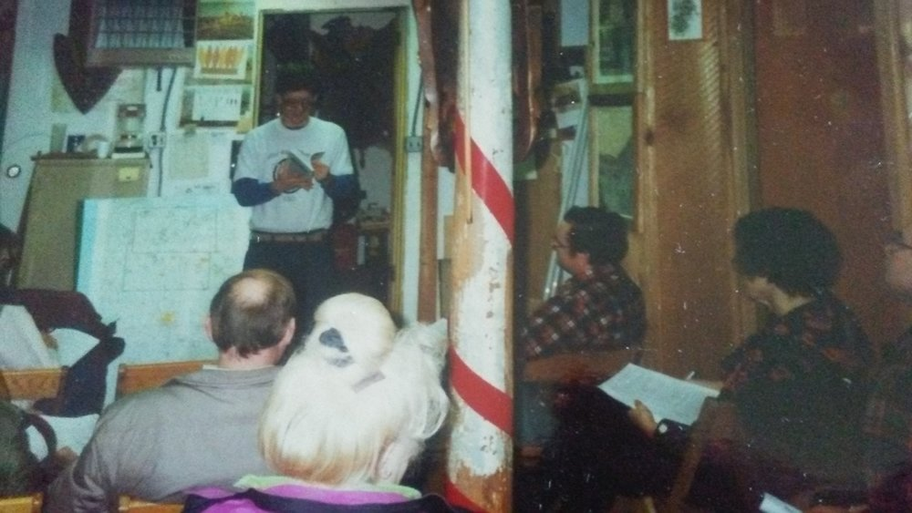 Dr. Jeb Bowen speaking for a chapter meeting at the Sandusky Bay Indian Museum, mid 1991.