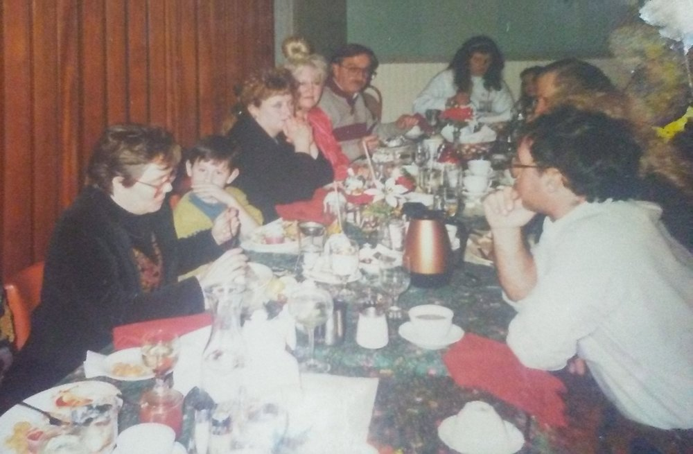 Left Side, Kathy Edwards, TJ Edwards, ... Price, Maxine Price and Jerry Price. Head of the table is Cheryl Demuth and right forefront is Tim Edwards. Chapter Christmas party 1991