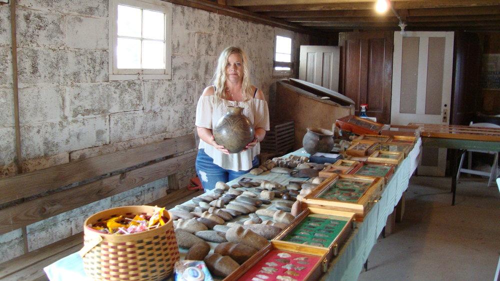 Beth Creviston with her Caddo Pot