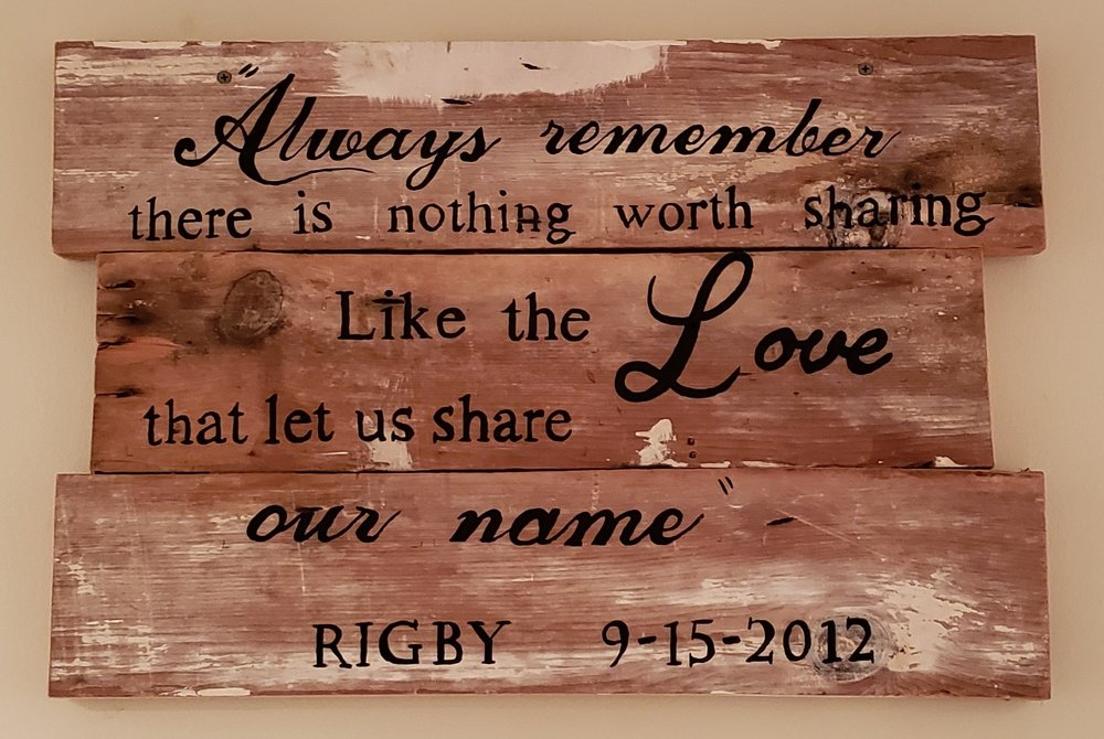 A very special custom made wooden sign!