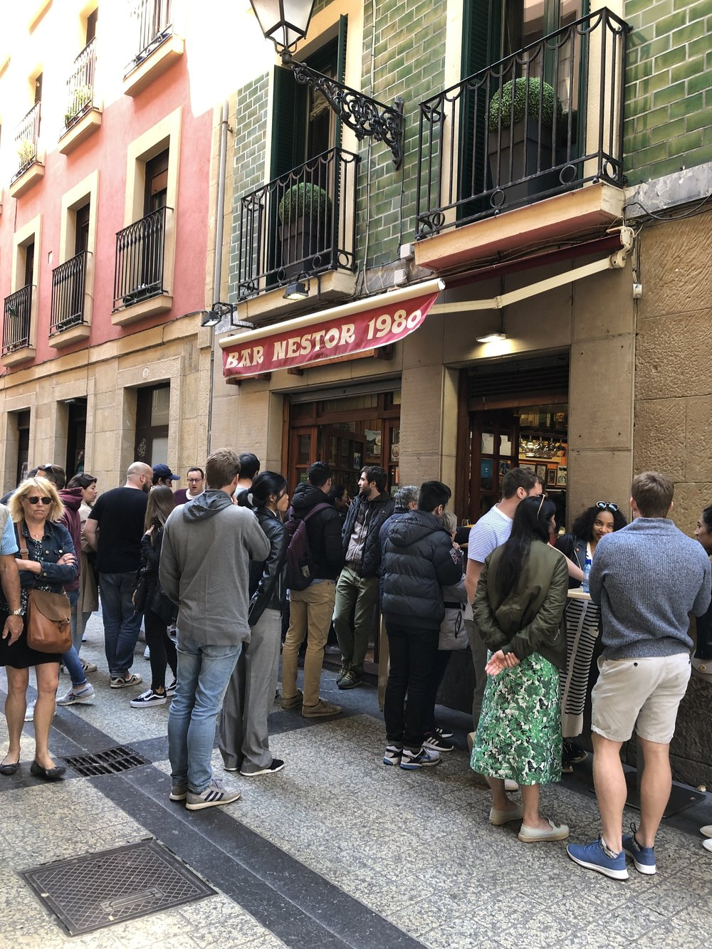 Photo I took while waiting to eat tomatoes, peppers & steak at bar Nestor in San Sebastian