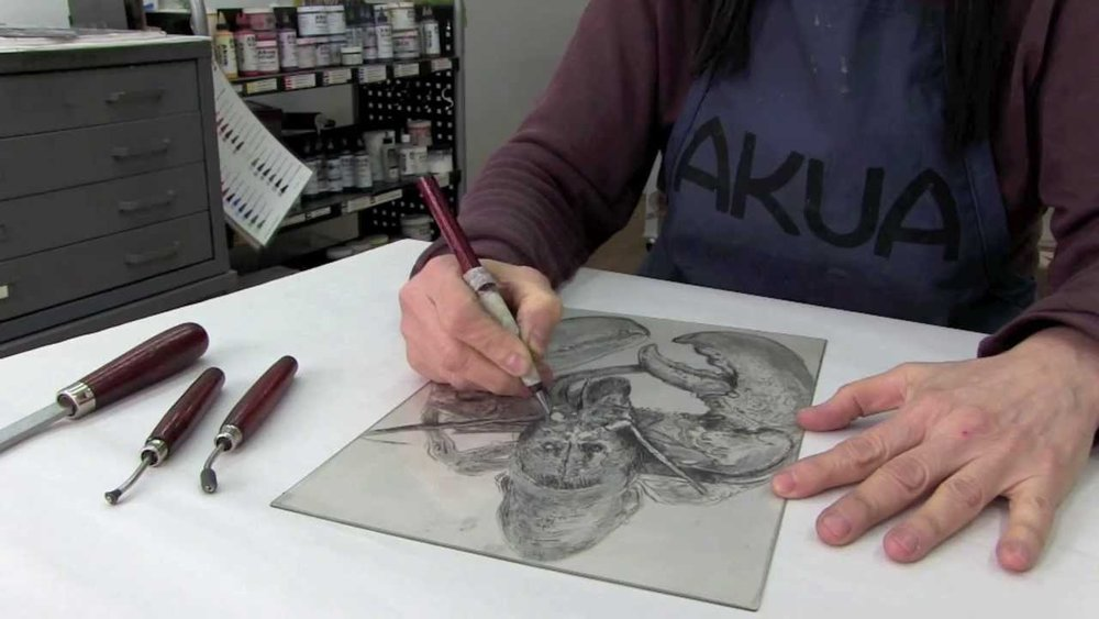 Drypoint Printmaking with Chine Collé. -