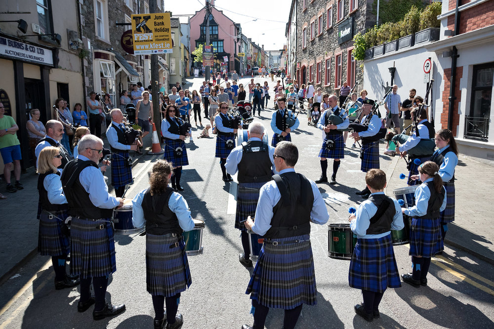 Killorglin's award-winning pipe band takes over the streets. -
