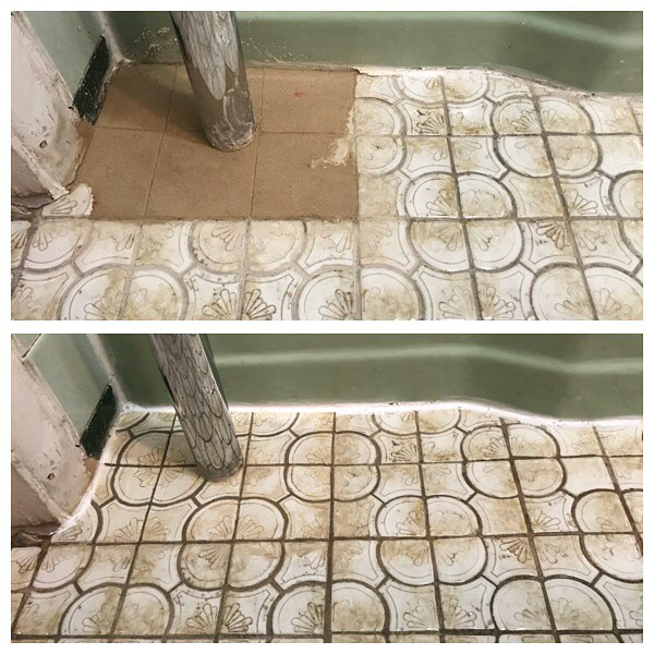 Can't find an exact tile match? No problem! #restoration #fauxpainting #beforeandafter