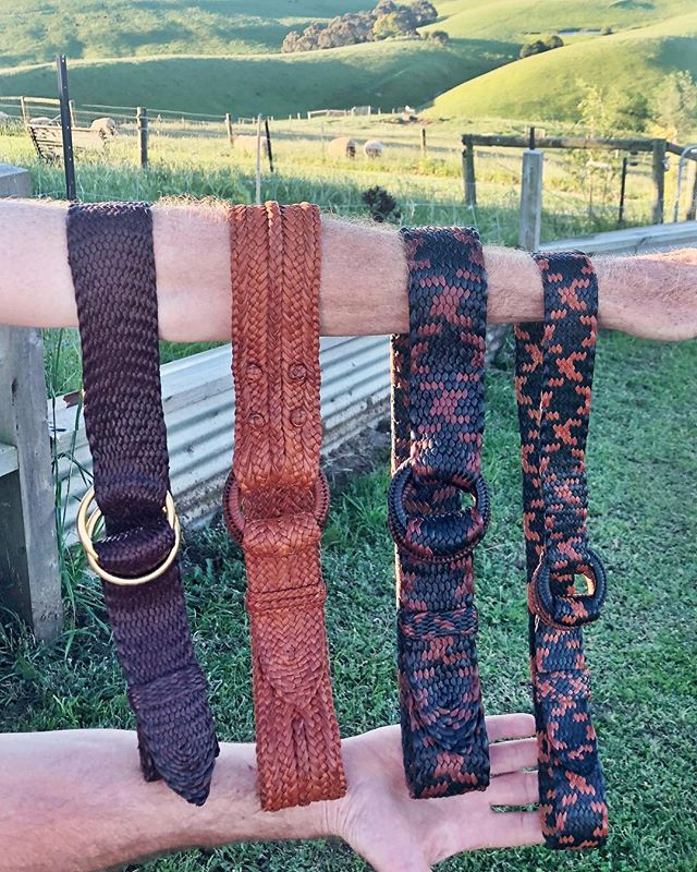 Four kangaroo leather plaited belts heading for Brazil 🇧🇷 #stockmanleathercraft #leatherbelt #kangarooleather #plaitedbelt #traditionalcraft