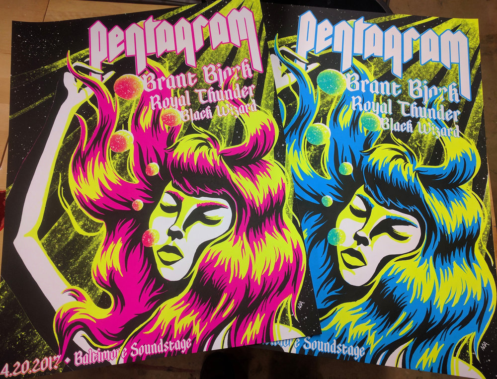 Blacklight posters for a show featuring Pentagram, Brant Bjork, Royal Thunder, and Black Wizard
