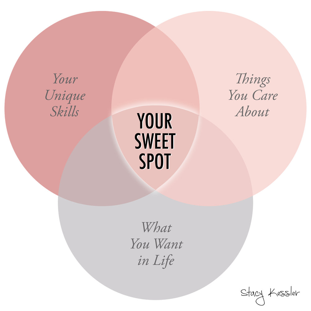 Your business sweet spot - your unique skills - things you care about - what you want in life - stacy kessler