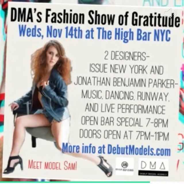 3 DAYS AND IT'S ON!  DMA's FASHION SHOW OF GRATITUDE . Wed, Nov 14, 2018 at 7:00 PM  TICKETS VIA LINK IN BIO . 2 designers  Musical Performance by @ryanbrahms  One Hour Open Bar Drink Special . . . HIGH BAR ROOFTOP