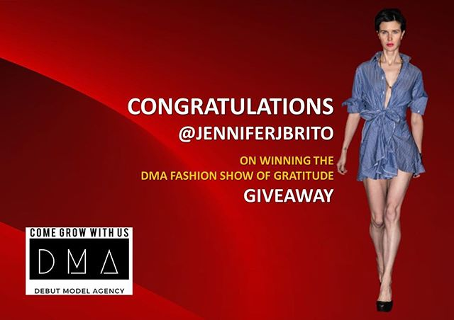 CONGRATULATIONS 🎉  Hooray to @jenniferjbrito the winner of our DMA FASHION SHOW OF GRATITUDE GIVEAWAY! . . We look forward to celebrating with you!!!! 🎉🎉🎉🎉🎉