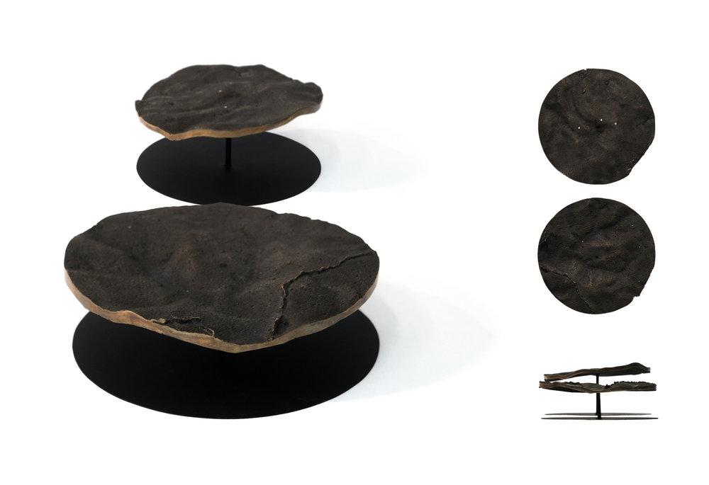 1:5 000 site models; patinated cast bronze, steel