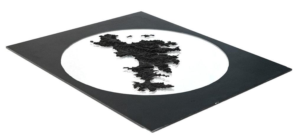 1:20 000 model of Waiheke Island; card and mirror