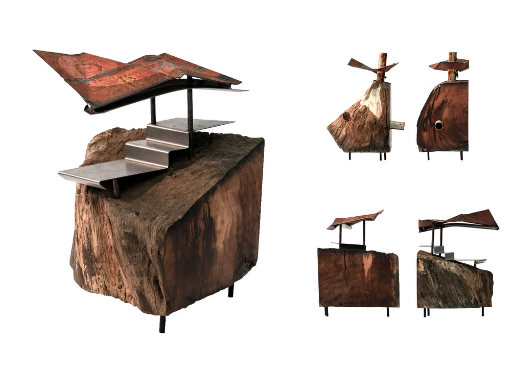 Pōhutukawa, steel, found objects