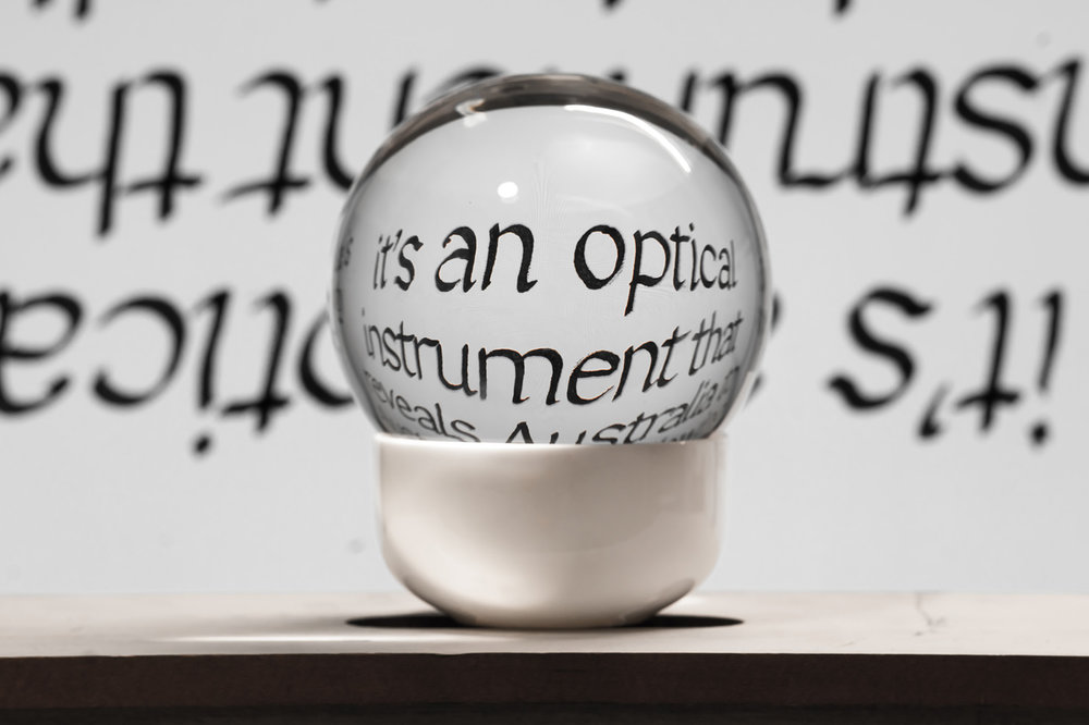 """Background text from Mark Wigley, in """"Utzon's Wings,"""" lecture, Staedelschule Architecture Class, 2011; glass, ceramic, ink, digital screen"""