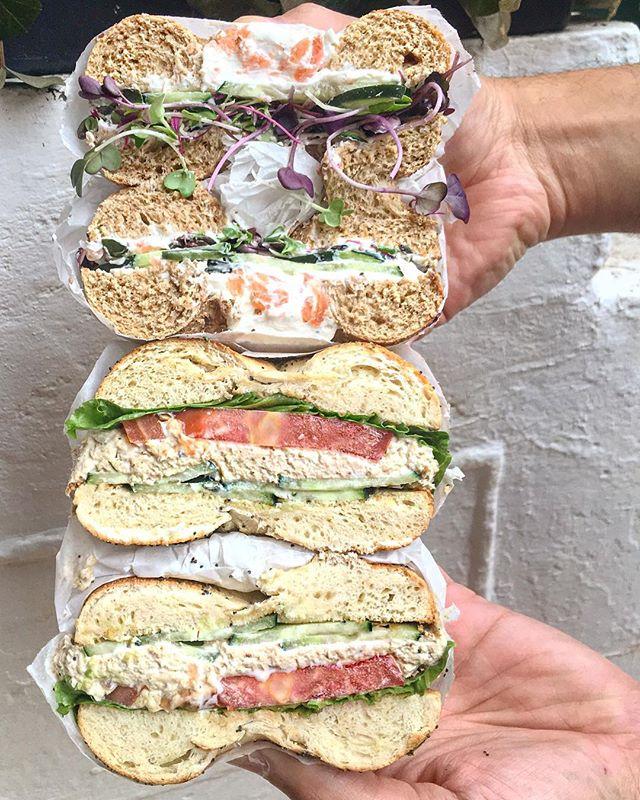 Tuna with tomato and cucumber 🍅 or lox spread with cucumber and micro greens? 🌱 ❔ . . . #baaagels #bostonfoodies #bostonfoodie #eastcoastfoodies #breakfasttime #coffeeshop #bagelshop #foodstagram #foodie #bagelsandwich #dogsofinstagram #dogstagram #dogfriendlypatio #foodphotography #foodphoto #bageldog #glutenfreebagel #glutenfreeeats #lox #loxandcreamcheese #avocadotoast #bestfoodboston #bostonfood #dailyfoodfeed #collegefoodie #collegeeats #harvard #harvardsquare #harvardyard