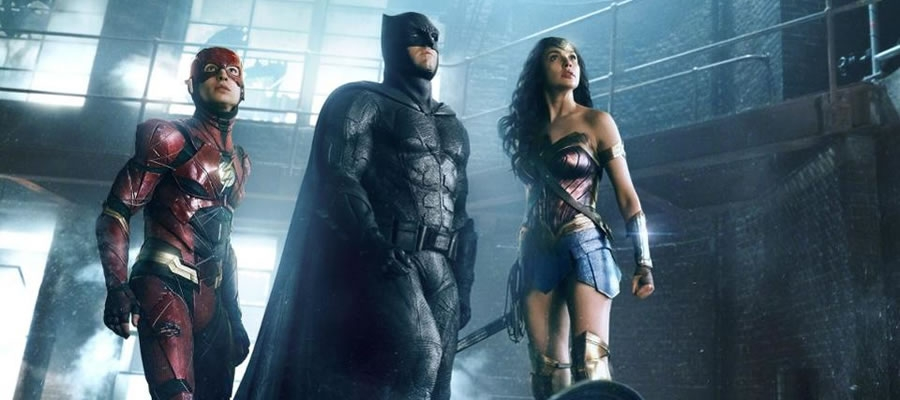 The Flash (Ezra Miller), Batman (Ben Affleck), and Wonder Woman (Gal Gadot) unite to take on the forces of Steppenwolf (Ciaran Hinds).