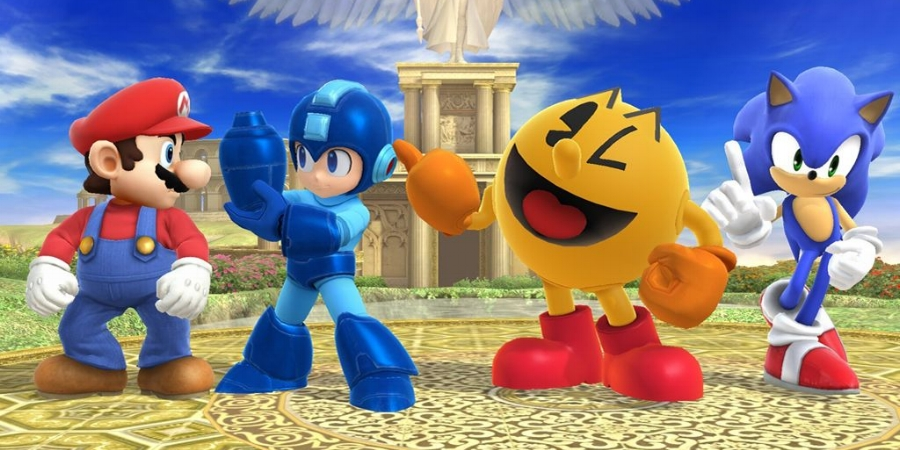 Super Smash Bros. for Wii U  is the first video game that allows you to duke it out with some of the video game medium's most iconic characters: Nintendo's Mario, Capcom's Mega Man, Namco's Pac-Man, and Sega's Sonic the Hedgehog.
