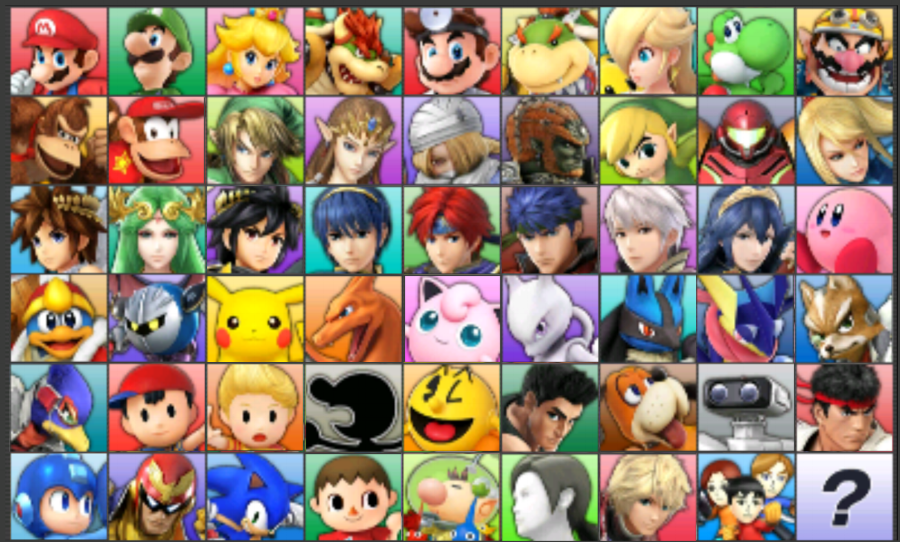 A look at the full roster of  Super Smash Bros. for Nintendo 3DS , with such mainstays as Mario, Kirby, Fox, and Samus, and newcomers like Mega Man, Pac-Man, Duck Hunt Dog, and Wii Fit Trainer.