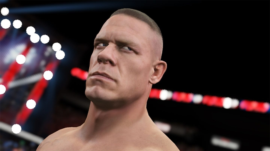 No, that's not a photo: that's a real in-game screenshot of John Cena as he appears in  WWE 2K15 . Most of the likenesses are eerily uncanny.