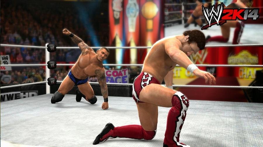 Randy Orton preparing to RKO Daniel Bryan in an exhibition match in  WWE 2K14 .