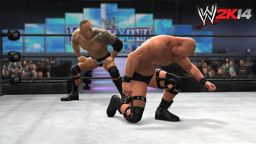 """WWE 2K14 's """"30 Years of WrestleMania"""" mode allows you to play through and relive main event matches from the three-decade history of the WWE's premiere event, like The Rock vs. Stone Cold Steve Austin from WrestleMania XIX (which I attended!)."""