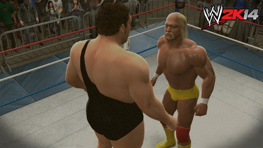"""""""The irresistible force meeting the immovable object!"""" Hogan and Andre packed 93,173 fans into the Pontiac Silverdome in Michigan for WrestleMania III in 1987, and it's one of the moments you get to play in this game's story mode."""