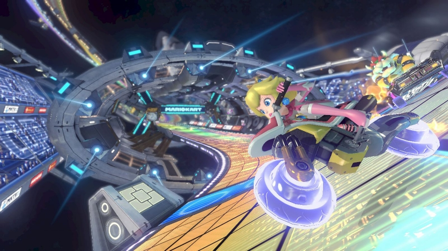 Perhaps more unforgiving than ever, online play returns in a refined system in  Mario Kart 8  making games easy to jump into with friends and other players…but making them  far  from easy to win.