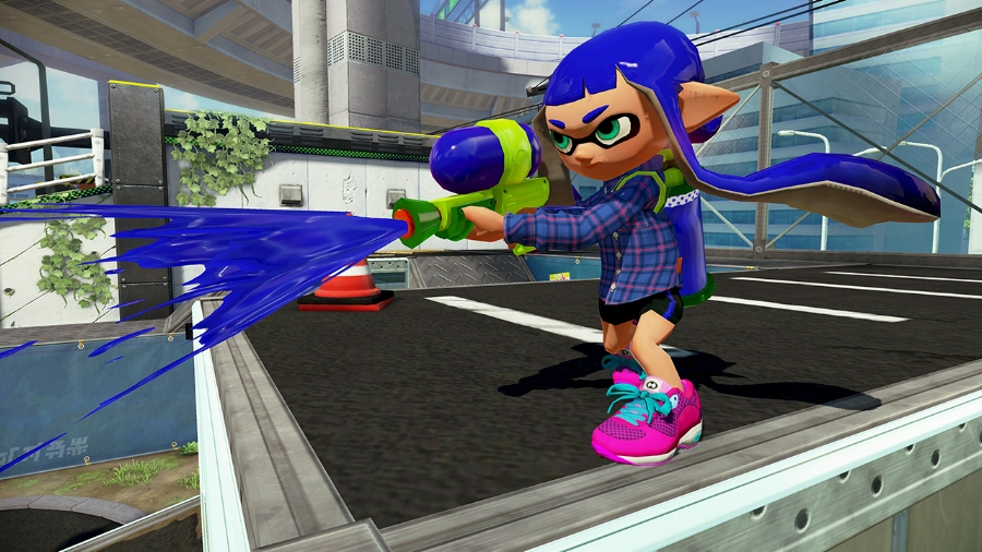 An Inkling girl using the most basic type of weapon in the game, the Splattershot.