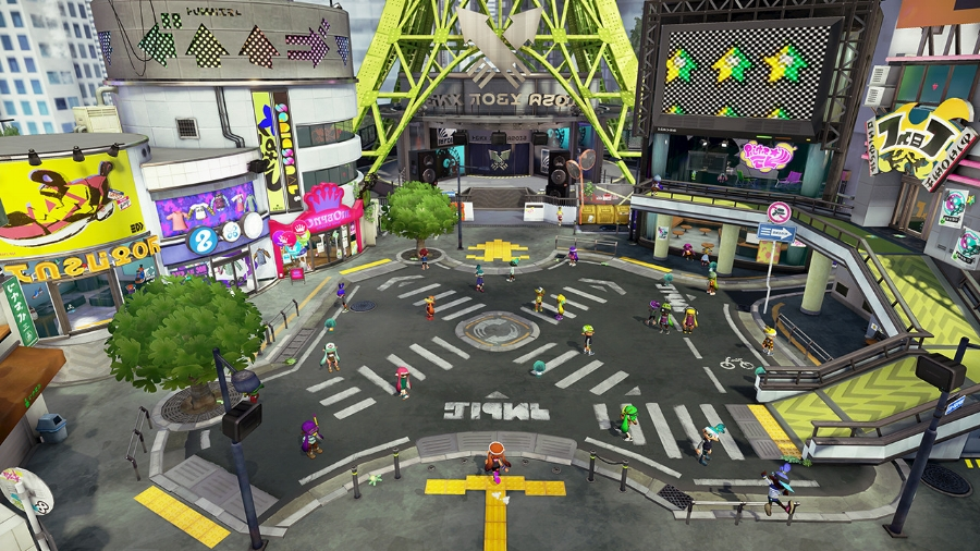 Here's a look at Inkopolis, the Inkling city where players can purchase and upgrade weapons and gear, begin campaign or multiplayer game modes, and post to Nintendo's Miiverse network.