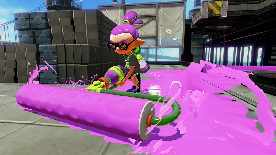 An Inkling boy using an ink roller, one of the most devastating — but vulnerable — weapons in the game.