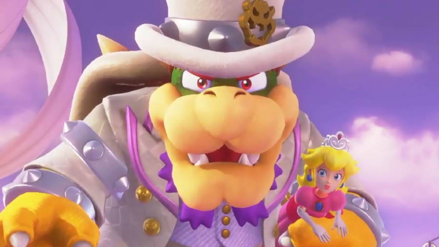 The dastardly Bowser has captured Peach once again, with the intention of marrying her. May I say, though, he's never looked so good doing it!