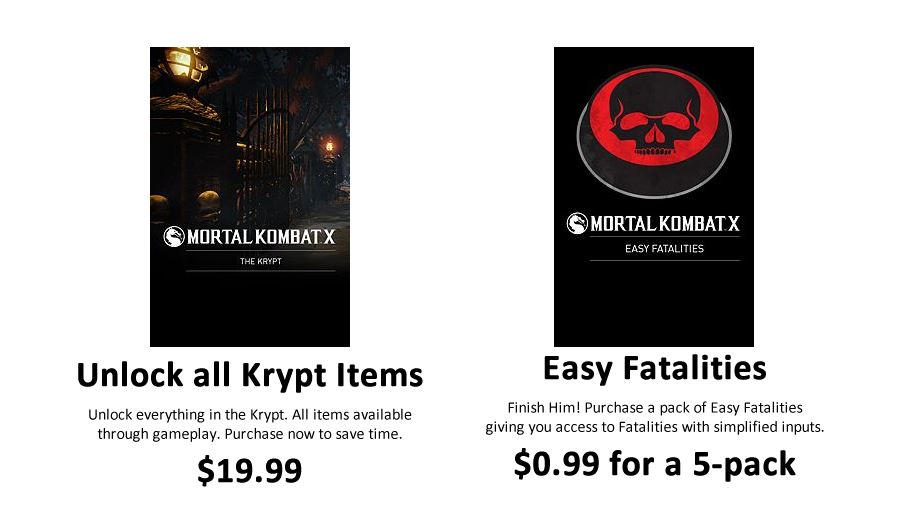 Two prominent items offered for microtransactions, available in both the Xbox Games Store and the PlayStation Network Store.