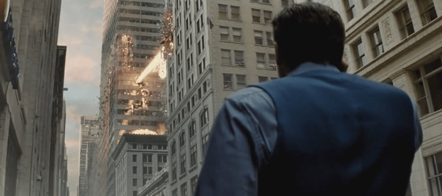 Seeing the final battle from  Man of Steel  depicted now from the ground-level perspective of Bruce Wayne is a clever device, familiarizing audiences with the grievances Batman will carry toward Superman over the course of the film.