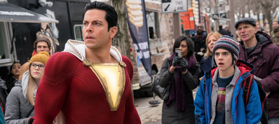 Billy as Shazam (Zachary Levi) finds an ally in navigating his newfound power in foster brother Freddy Freeman (Jack Dylan Grazer), whose encyclopedic knowledge of the heroes of the Justice League makes for a helpful ally in trying to discover what Billy is fully capable of.