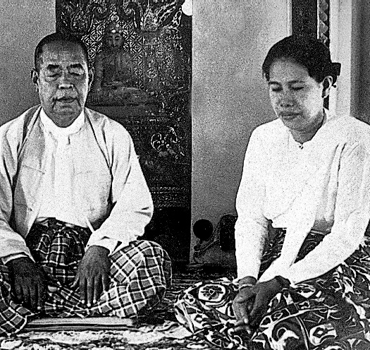 Sayagyi U Ba Khin and Mother Sayamagyi in the shrine room of the Pagoda at IMC Yangon