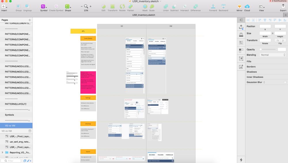 Listing app UI elements and spotting inconsistencies.