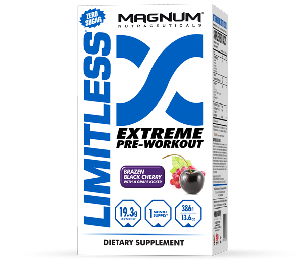 Magnum Limitless - Available in: Black Cherry, Fruit PunchMagnum Limitless has 100% Pharmaceutical Grade ingredients for better, faster results and is unequaled when it comes to stimulation, pumps, and strength. It has two-tiered, time release flavouring systems, so it tastes amazing. Increase the speed at which you can achieve your goals by the intensity you bring to the gym every time you take Magnum Limitless.• Increase strength and power• Insane energy and intensity • Improved recovery • Increased motivation