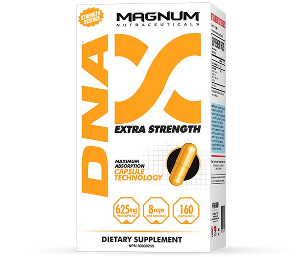 Magnum DNA - Magnum DNA is an anabolic formula that combines the powerful muscle-regenerating effects of Branched Chain Amino Acids (BCAAs) with the hardening and muscle expanding Glycine/Arginine ingredient. These scientifically proven ingredients improve density of muscles and strength, recovery and athletic performance. Only a formula this concentrated comes with a 3-day strength guarantee!• Instant strength• Improved recovery• Increased endurance