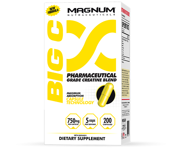 Magnum Big C - Magnum Big C is a maximum strength Creatine formula designed to help you get the most from your workouts. Creatine provides energy to your muscles. Muscles receiving energy is critical for anyone active; especially anyone lifting weights, exercising, playing sports, or any other activity that is demanding and stressful to your muscles. Every ingredient in Magnum Big C is Pharmaceutical Grade, so there is no water-weight, no bloating, and no loading phase.• An increase in energy and endurance for any activity• A reduction in recovery time• An increase in strength