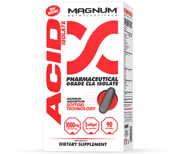 Magnum Acid - Magnum Acid is a Pharmaceutical Grade fat isomer designed to target problem body fat areas. It is a scientific formulation with proven ingredients that increase metabolism and promote lean muscle growth. With its potent 80%+ concentration and a blend of both CLA isomers, Magnum Acid will astound you with results.